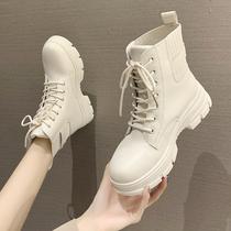 V6A1DDD0机车皮短靴加绒ins冬新商场同款20百丽粗跟马丁靴女
