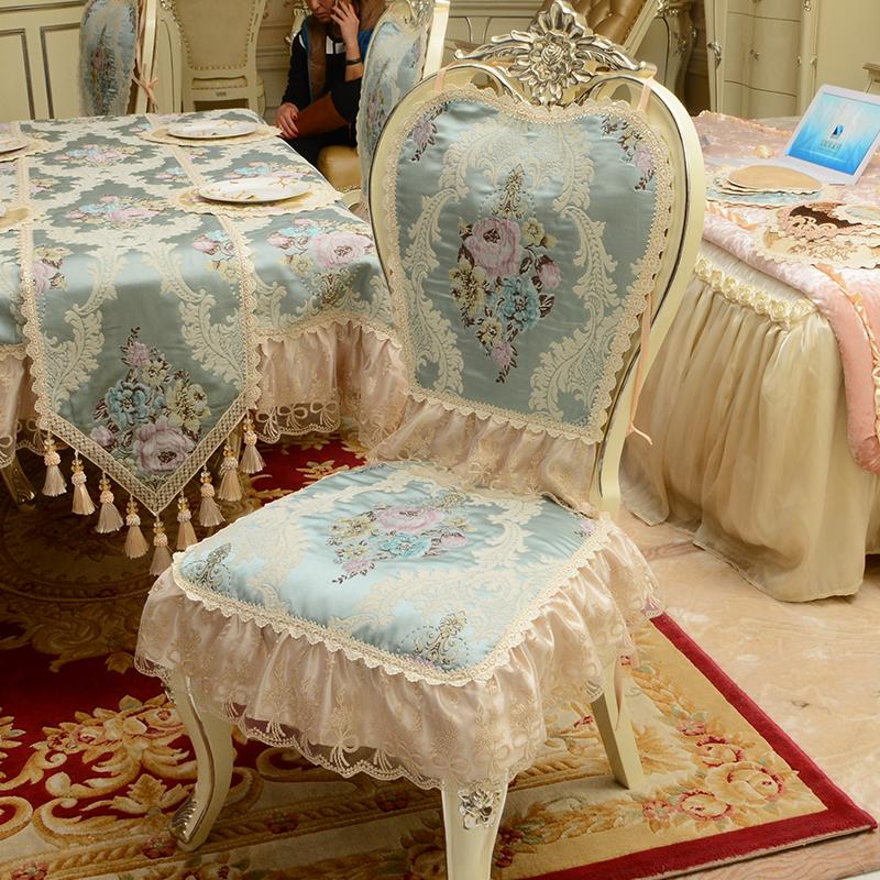 欧式餐椅垫坐垫家用防滑加厚椅子垫四季通用椅套凳罩餐桌布艺套装