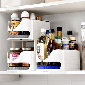 多功能可旋转置物架多层厨房调料架浴室收纳架调味品双层转盘圆形