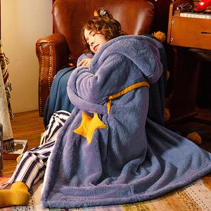 睡袍女星星卡通睡裙珊瑚绒加厚睡衣男秋冬长款宽松外穿法兰绒浴袍
