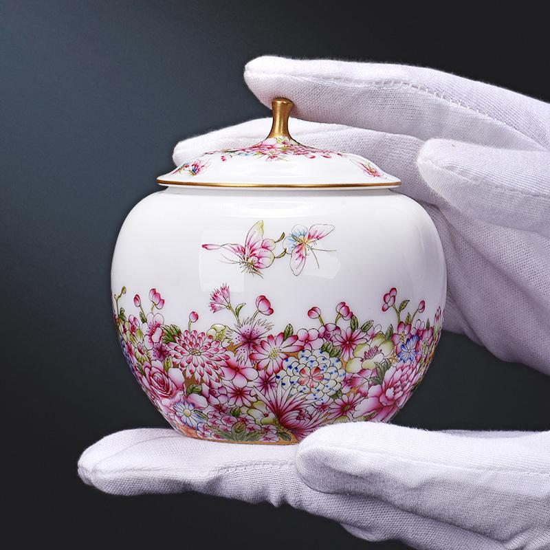 9BJ 景德镇陶瓷器 手绘珐琅彩 全手工茶叶罐存储罐 坚果罐摆件,可领取100元天猫优惠券