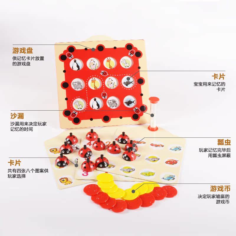 記憶力訓練益智塑料智力玩具老人兒童家庭遊戲瓢蟲記憶遊戲棋