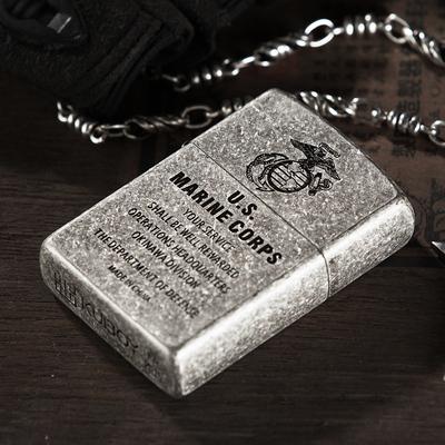 酷宝 美国军队铜煤油打火机 古银复古防风男老式砂轮加油火机刻字