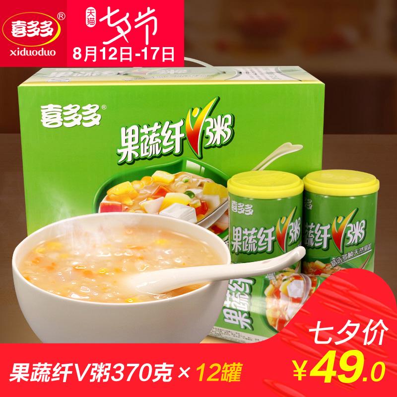 喜多多 果蔬纤V粥 早餐方便速食八宝粥 370g*12瓶 福建特产 包邮