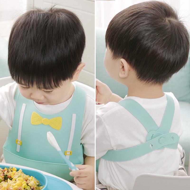 背带式围兜婴儿防水吃饭宝宝围嘴食饭兜背心儿童硅胶超软口水兜夏