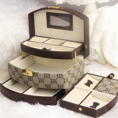 灵芳首饰盒公主可爱欧式珠宝饰品盒韩国首饰收纳盒实木质带锁礼物