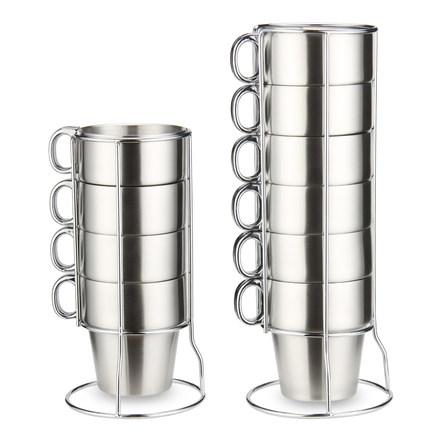 双层不锈钢咖啡杯套装组合奶茶水杯