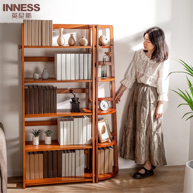 日式纯实木书架多层隔板置物架欧式陈列架书房家具展示架边角架,可领取20元天猫优惠券