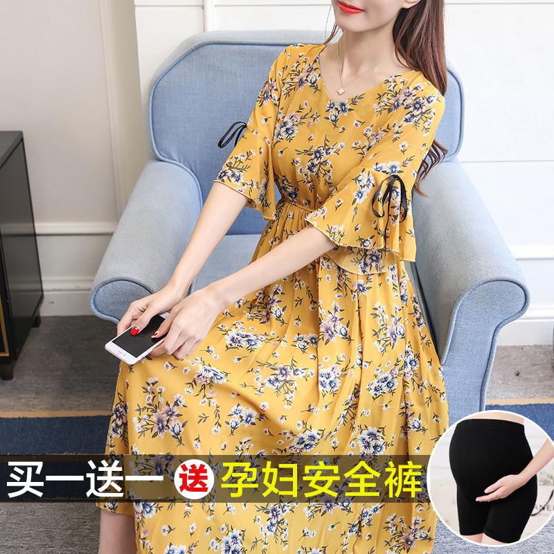 孕妇雪纺连衣裙中长款夏装2020新款韩版喇叭袖显瘦碎花孕妇长裙夏图片