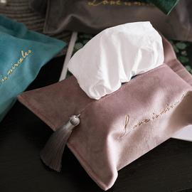 北欧丝绒纸巾套创意纸巾盒家用客厅布艺抽纸袋车载纸巾包创意简约图片
