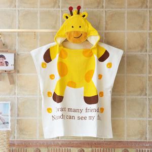 永盛卡通儿童浴巾纯棉吸水毛巾带帽斗篷宝宝全棉婴儿浴袍套头游泳