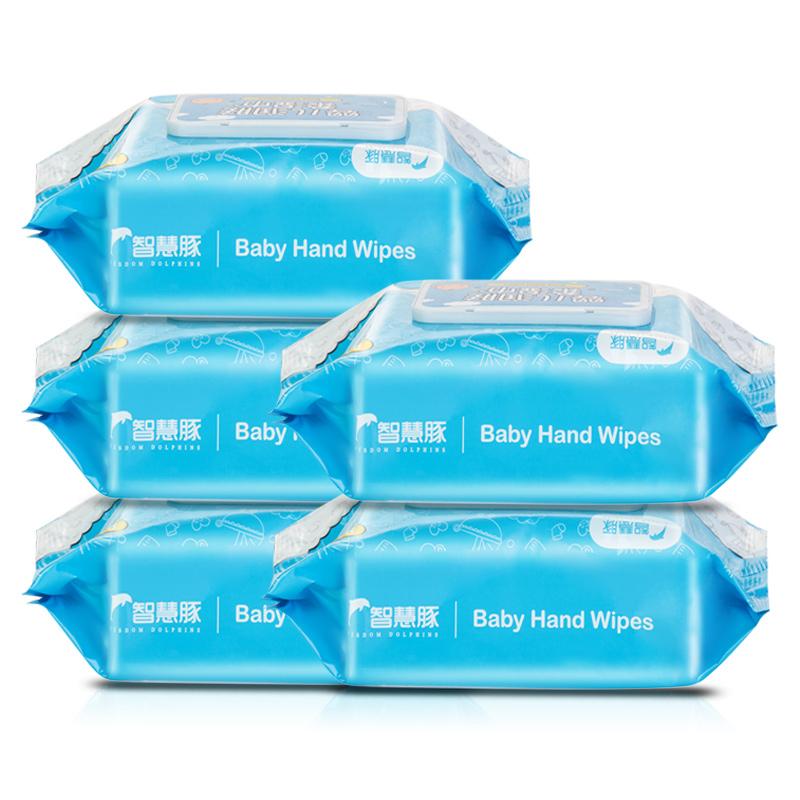券后18.90元婴儿湿巾手口专用新生宝宝湿纸巾带盖家用实惠装5大包装特价