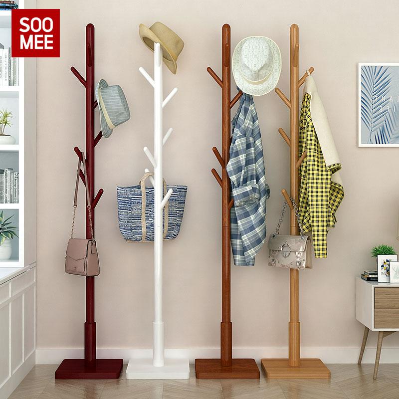 家用衣帽架实木挂衣架卧室简易落地简约办公室客厅挂衣服的衣架子