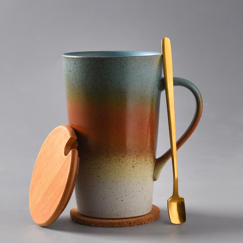 杯子陶瓷马克杯带盖勺茶水杯复古家用咖啡杯创意个性潮流情侣杯
