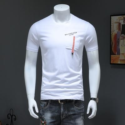 2019春夏新款男士时尚休?#24615;?#39046;短袖T恤衫 白色 QT3020-9903-p45
