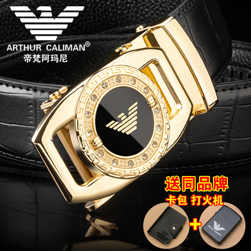 Tiffany Armani mens belt leather automatic buckle middle aged young peoples belt student leather pants belt men