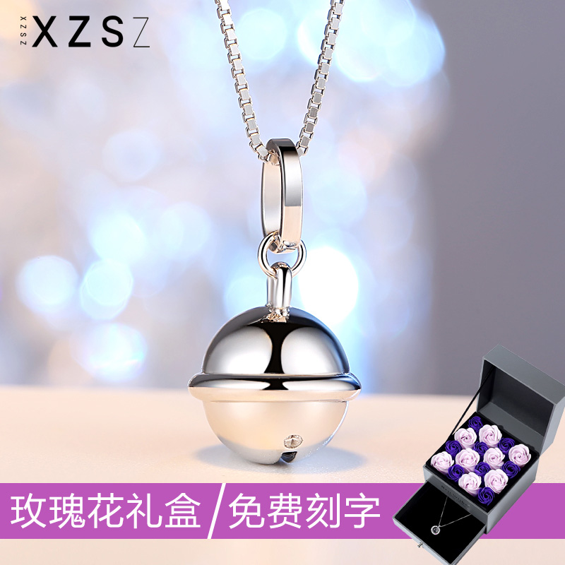 S925 Sterling Silver Necklace womens net red same clavicle chain Doraemon bell pendant Valentines Day Gift Girl