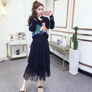 2019秋冬装新款网红抖音复古针织毛衣网纱仙女蛋糕半身裙两件套装