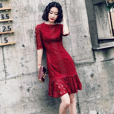 改良少女旗袍夏中國風紅色魚尾結婚禮服敬酒服新娘連衣裙現代短款