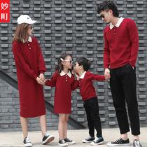一家三口亲子装一家四口红色毛衣母女装洋气全家福服装过年拜年服