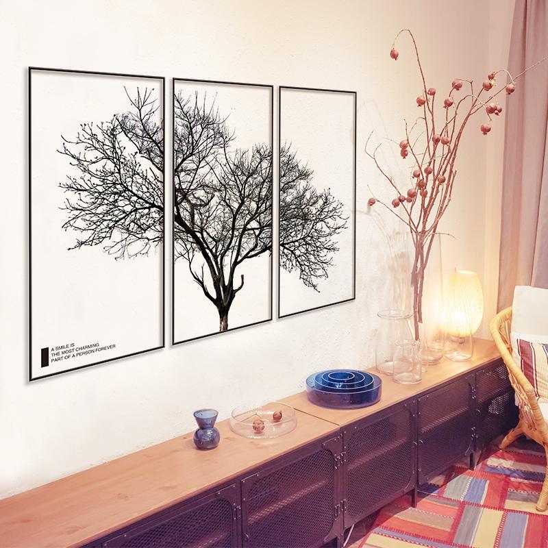电视沙发背景墙三框黑树枝卧室贴画(非品牌)