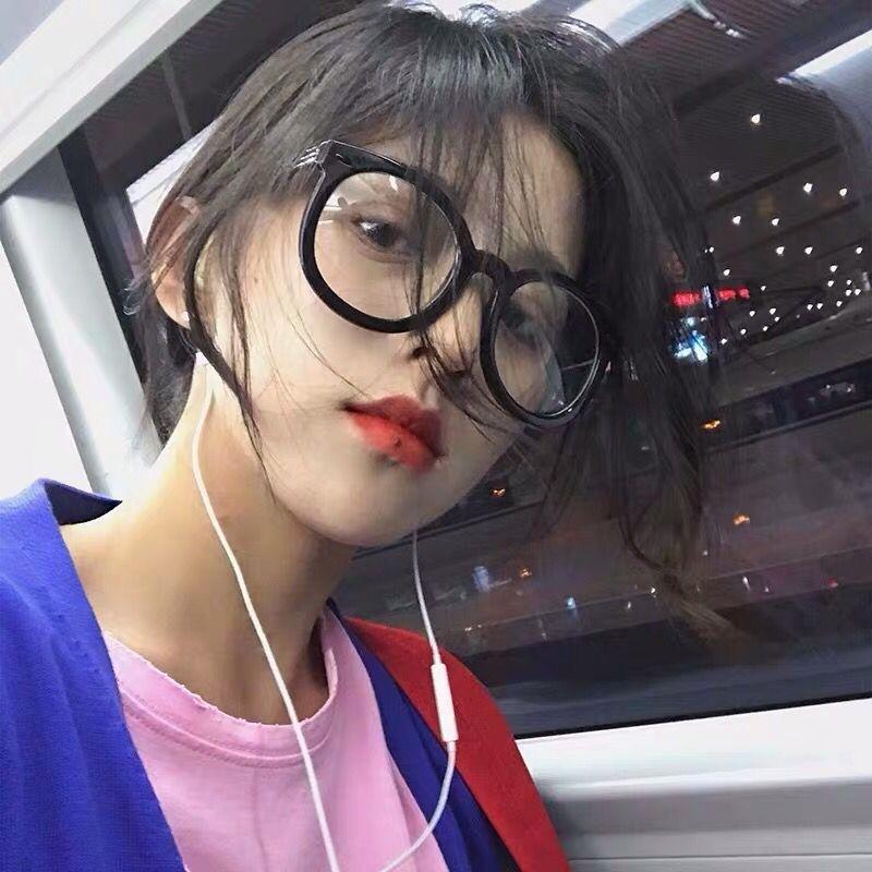 港味网红新复古泛泛同款黑色圆形眼镜框顽童大人黑色粗边框眼镜女