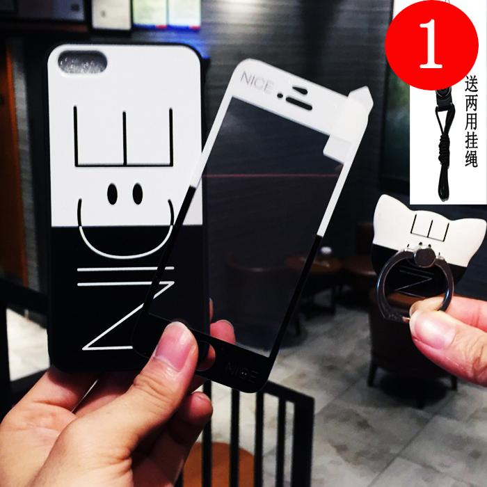 苹果5s钢化膜可爱卡通全屏覆盖全包边se彩膜送手机壳前后iphone5s