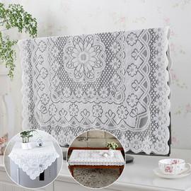 素色餐桌布茶几布圆桌布餐台布多用盖巾防尘罩布艺蕾丝冰箱电视罩图片