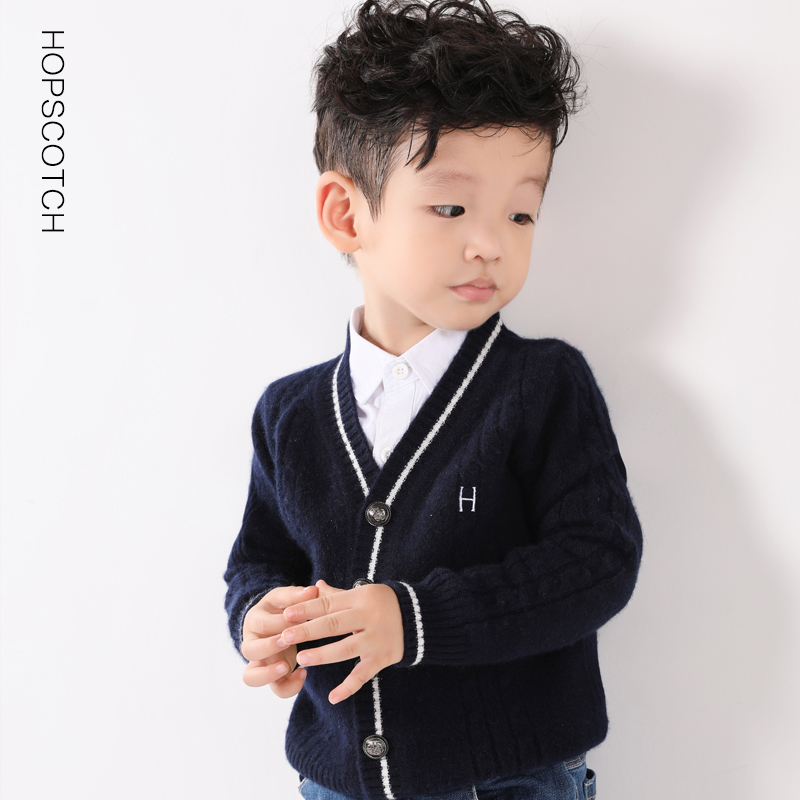 Childrens sweater cardigan boys 2020 new Korean baby cashmere sweater girls autumn winter h embroidered T-shirt V-neck