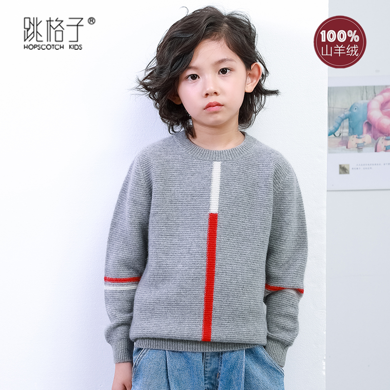 Childrens cashmere sweater girls sweater 2020 new foreign style Pullover boys loose round neck babys T-shirt autumn and winter