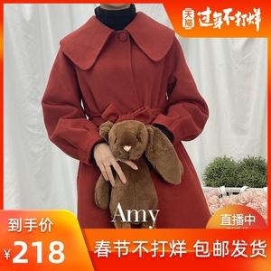 领30元券购买2020新款圣诞红双面毛呢女羊毛大衣