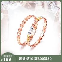 18K玫瑰金戒指白金三色彩金au750黄金戒指环素金小指圈尾戒手饰女