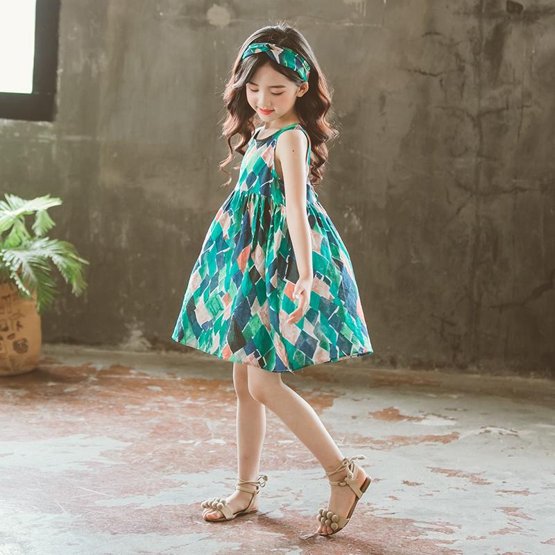 大女童连衣裙夏装2018新款韩版童装儿童夏季洋气小女孩裙子背心裙