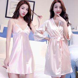 春秋季冰丝吊带睡裙睡袍性感丝绸睡衣女秋冬款两件套装长袖薄款夏