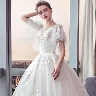 新娘主婚紗禮服2019新款結婚韓版一字肩v領顯瘦大碼齊地森系簡約