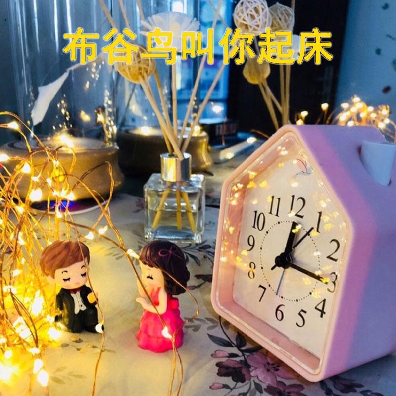儿童专用卡通创意静音夜光时钟表学生用床头钟音乐创意闹铃小闹钟