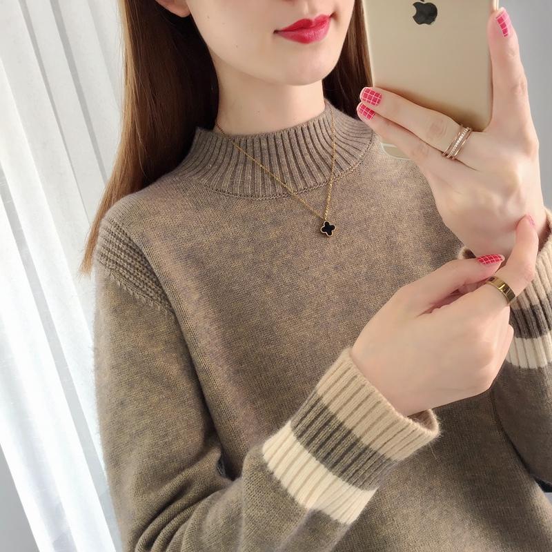 2019秋冬新款女装半高领宽松外穿短款女士毛衣百搭加厚内搭打底衫