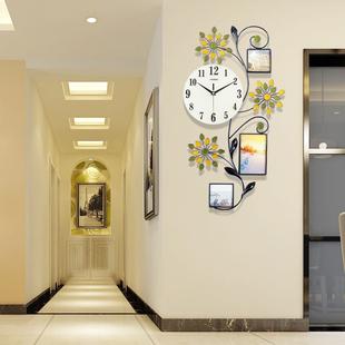 钟表客厅餐厅相框家用挂钟简约田园卧室静音石英钟现代时尚创意