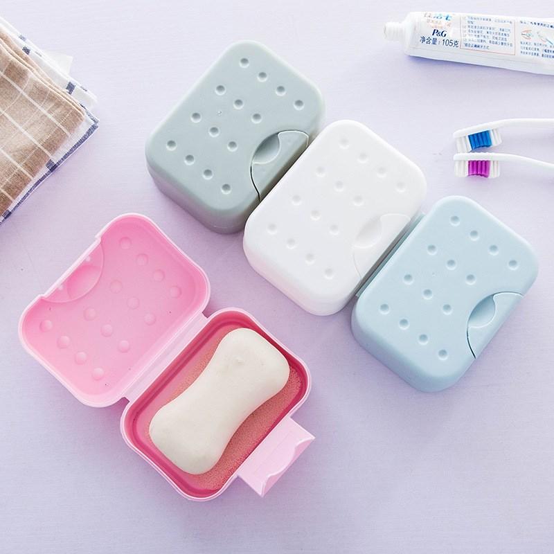 旅行便携带锁扣有盖肥皂盒密封防水皂架 带吸水海绵垫洗脸香皂盒