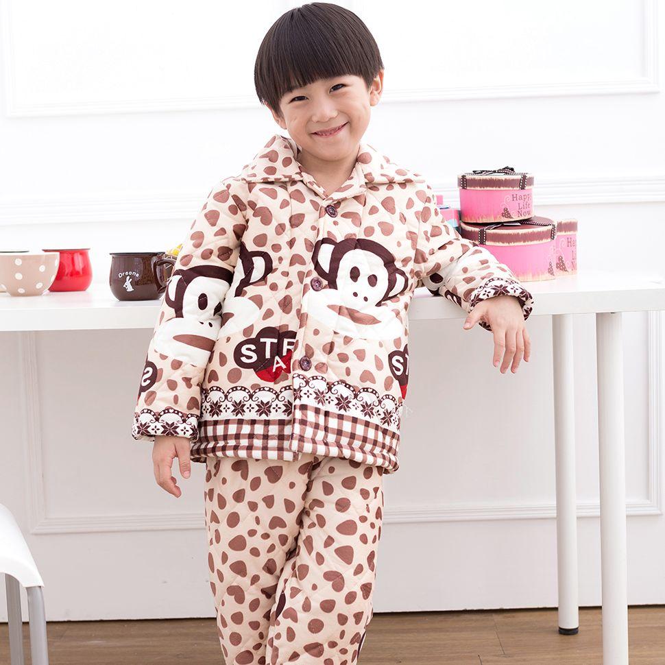 舒露宝男童夹棉睡衣儿童加厚冬款 小男孩长袖珊瑚绒家居服中大童