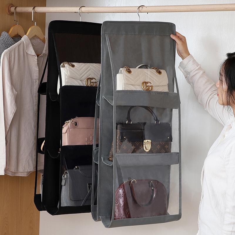 包包收纳挂袋挂式门后布艺防尘家用衣柜收纳架宿舍神器衣厨置物袋