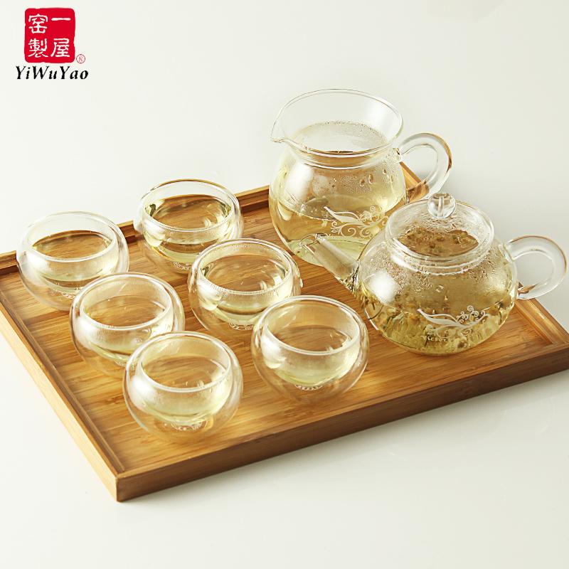 一屋窑耐热玻璃花草茶壶礼盒壶茶杯