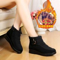 老北京布鞋女棉鞋短靴冬季加厚保暖鞋加绒坡跟雪地靴防水厚底软底
