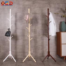 实木衣帽架落地卧室式简约北欧单杆