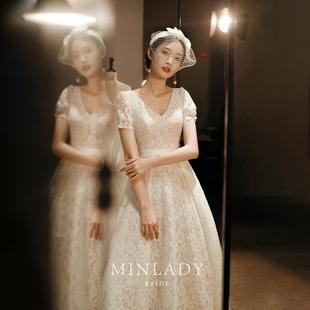 名斓|花诉 轻婚纱2020新款气质简约法式复古新娘蕾丝齐地出门纱女