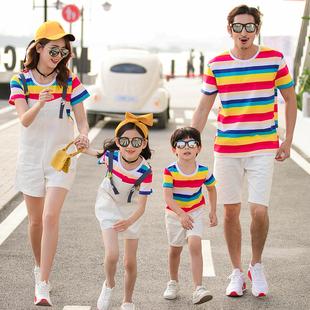 亲子装夏装2021新款潮一家三口四口全棉t恤 母子女装洋气短袖套装