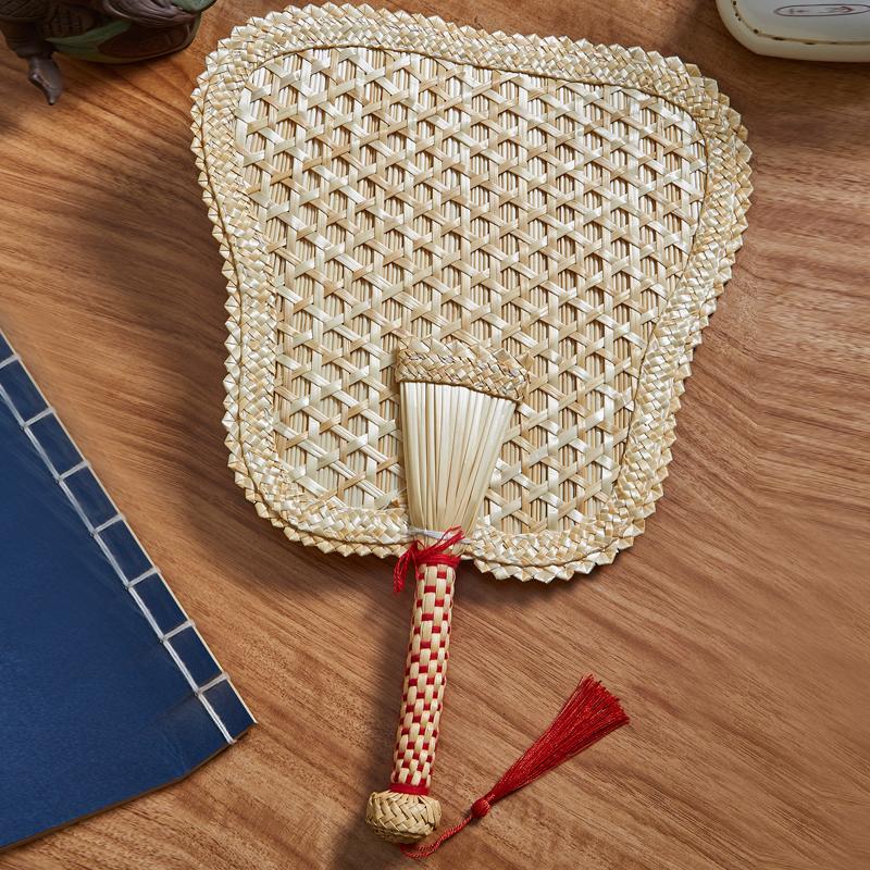 手工编织麦秆扇 手摇复古扇子 夏季老人驱蚊纳凉芭蕉扇蒲草宝宝扇,可领取2元天猫优惠券