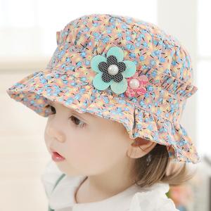 婴儿帽子春秋薄款可爱碎花公主儿童遮阳帽女宝宝渔夫帽女童太阳帽