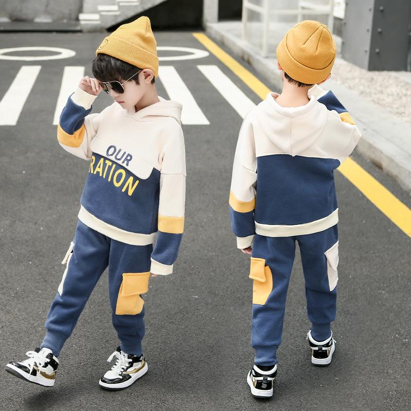 12-02新券男童秋冬装套装3一4三5四6五7八8岁小男孩加绒加厚儿童两件套衣服