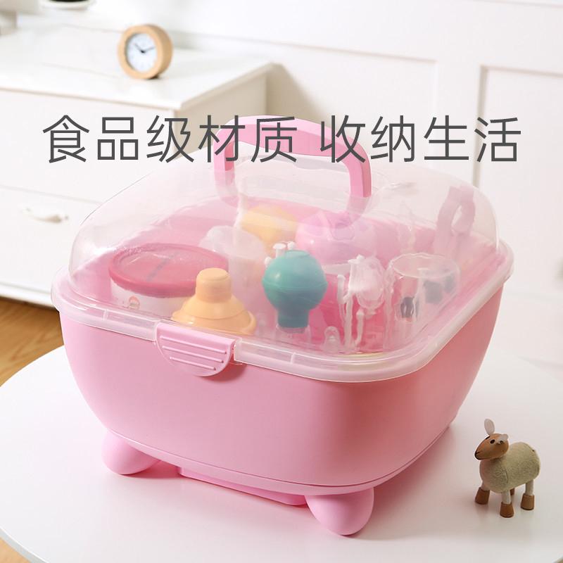 婴儿奶瓶收纳箱沥水晾干架宝宝餐具存储整理盒便携式大号带盖防尘 Изображение 1